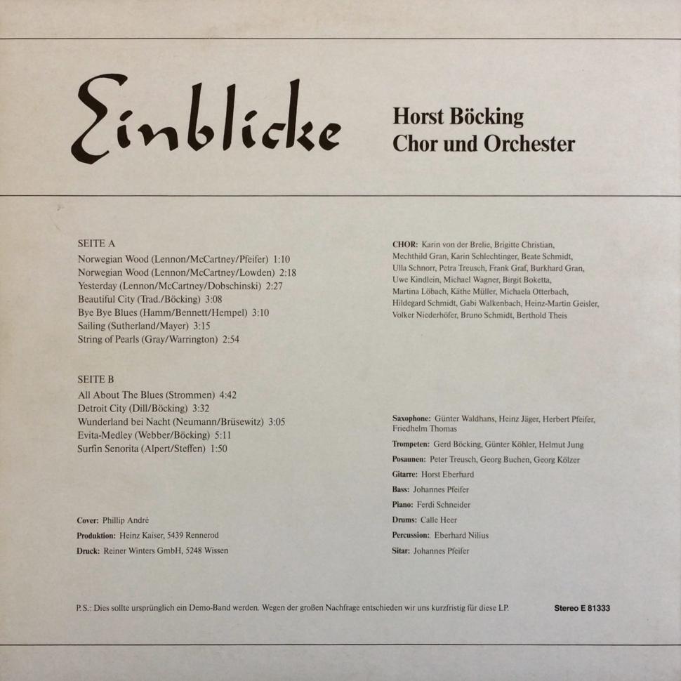 HORST BÖCKING CHOR & ORCHESTER – Einblicke 1980 PETZ – E 81333 Germany