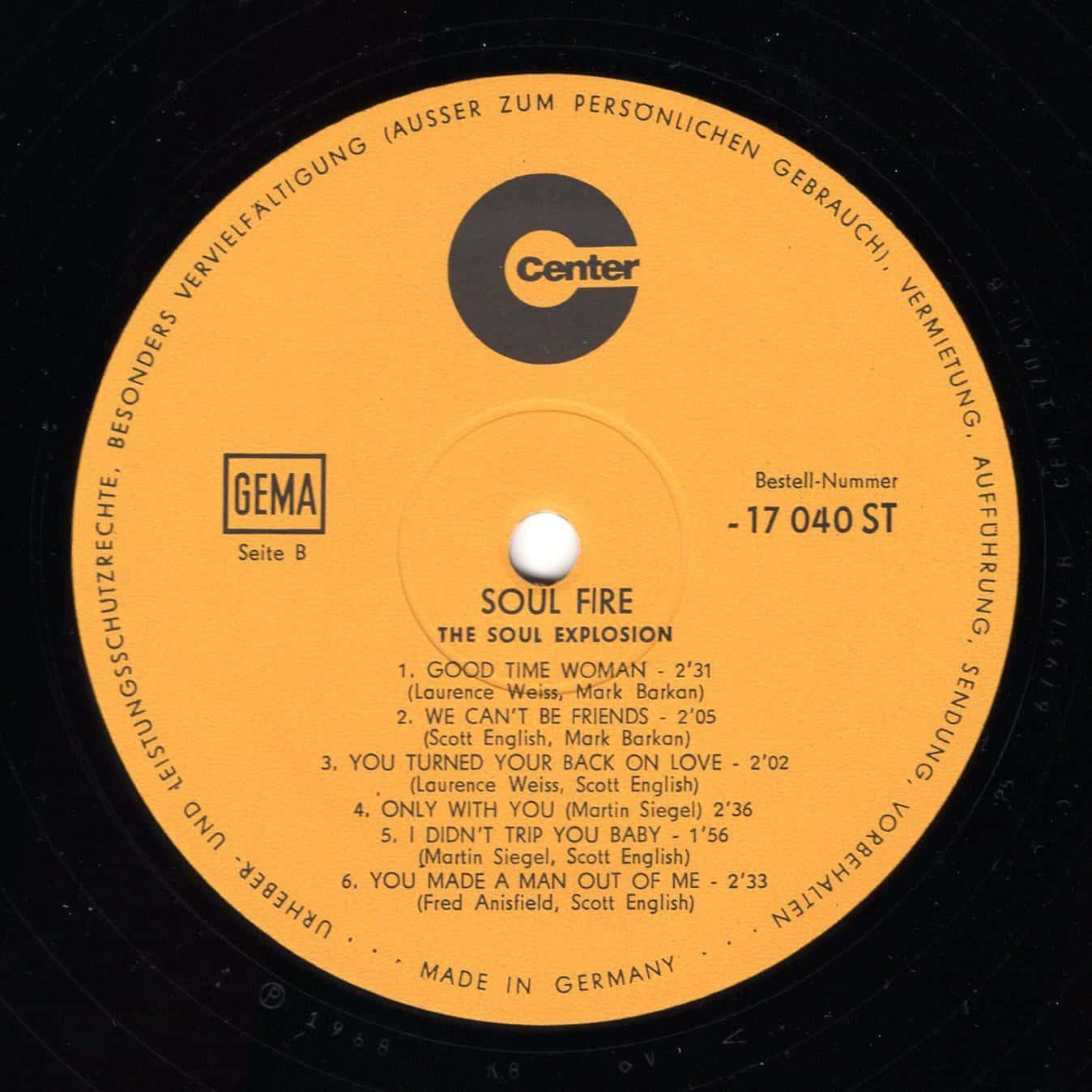 The Soul Explosion – Soul Fire SIDE B 1968 Center – 17040 ST