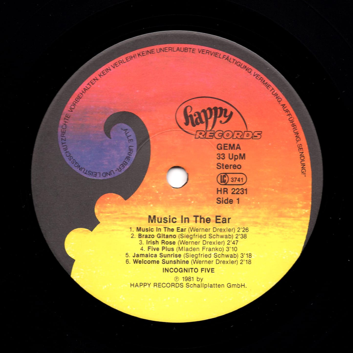 Incognito Five ‎– Music In The Ear 1981 Happy Records HR 2231