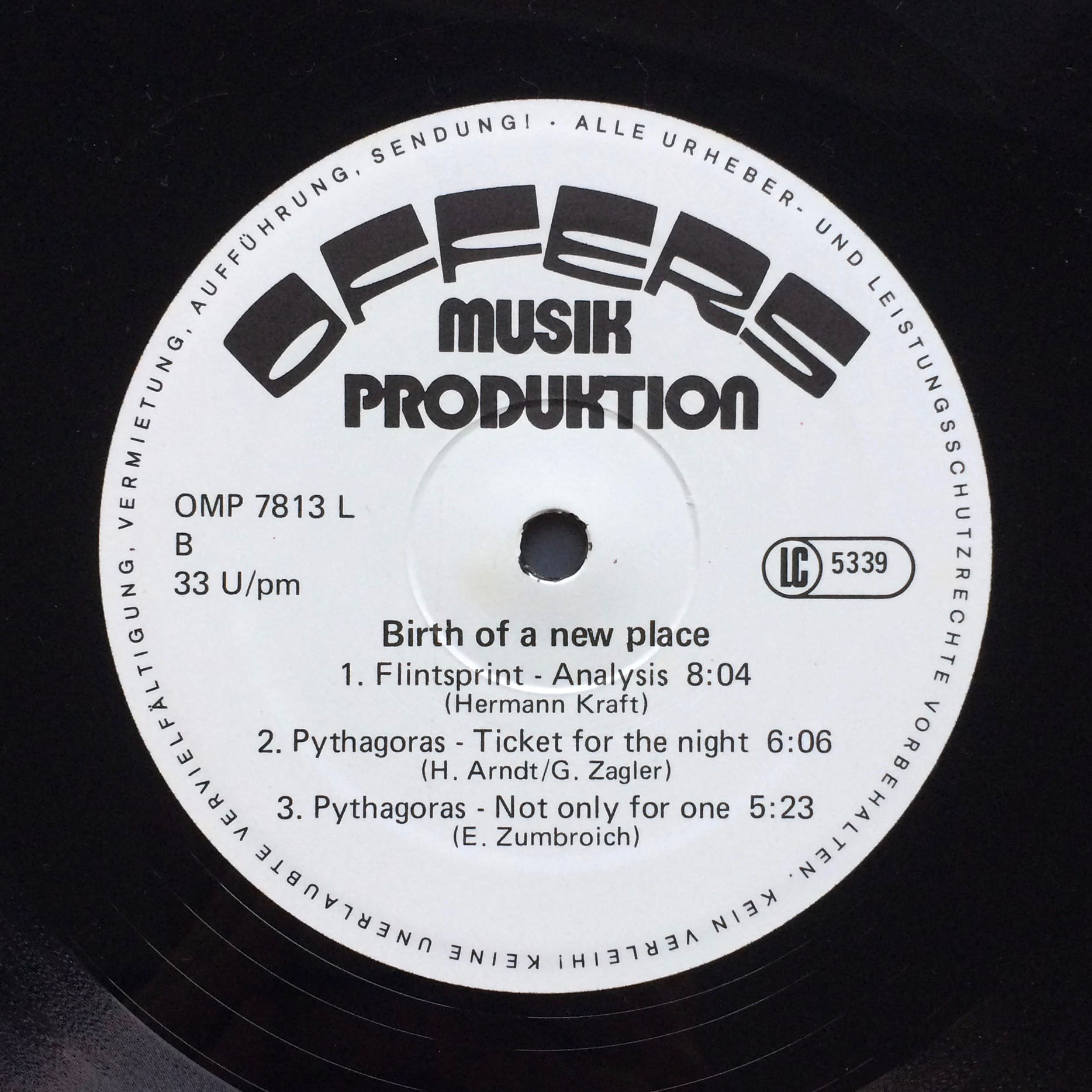 Various ‎ Birth Of A New Place –  Offers Musik Produktion ‎– OMP 7813L Germany 1978