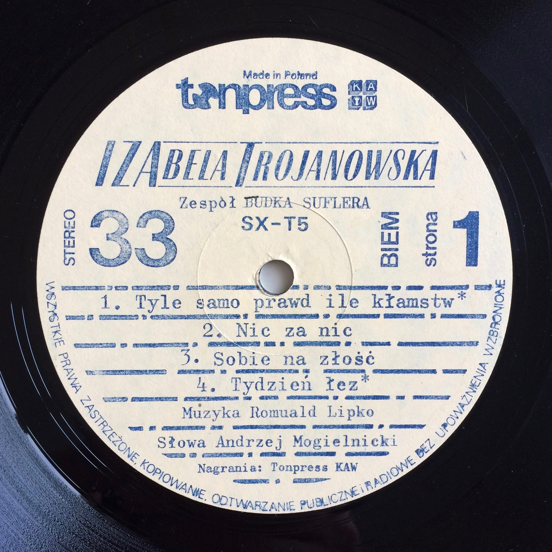 Izabela Trojanowska - Iza - Tonpress – SX-T5 -Poland - 1981