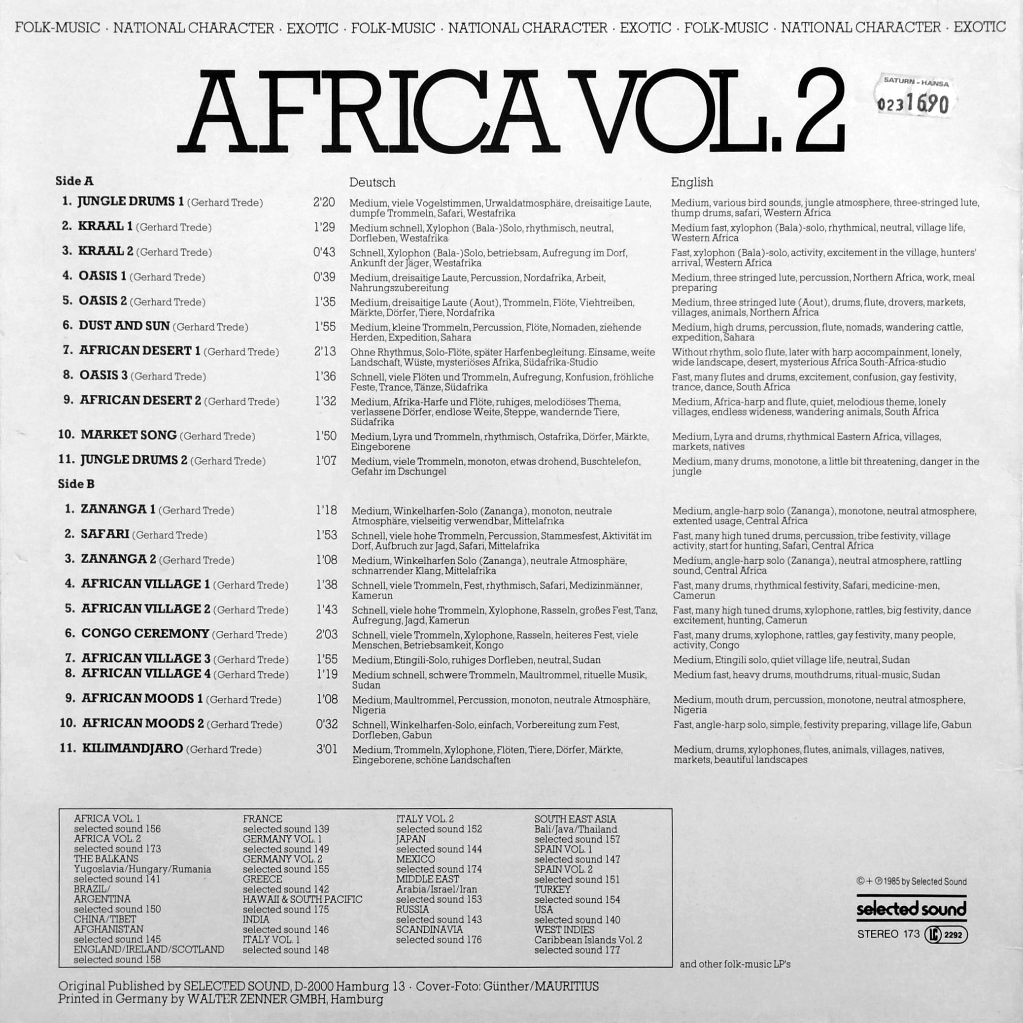 Selected Sound ‎– Folklore-Serie AFRICA VOL.2 – Selected Sound ‎– ST 173 Germany 1985 by Gerhard Trede