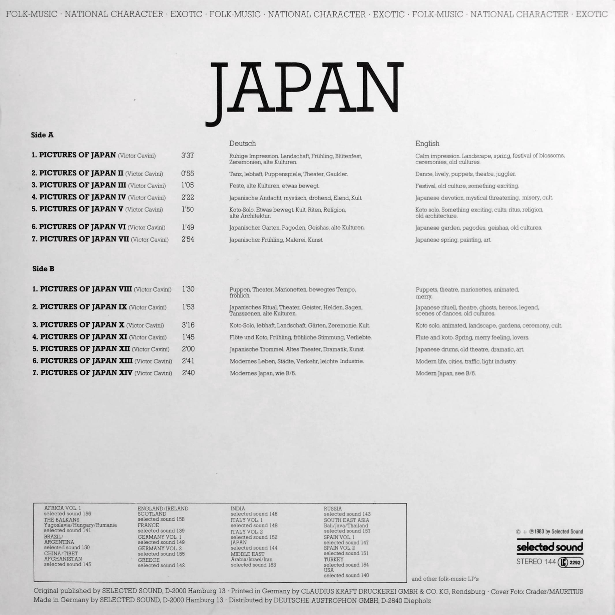 Selected Sound – Folklore-Serie JAPAN – Selected Sound – ST 144 Germany 1983 Victor Cavini (pseudonym used by Gerhard Trede for Library Music compositions).