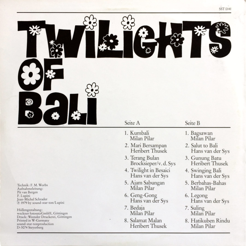 Münchener Studioorchester TWILIGHTS OF BALI – Sound-Star-Ton ‎– SST 0141 Germany 1979