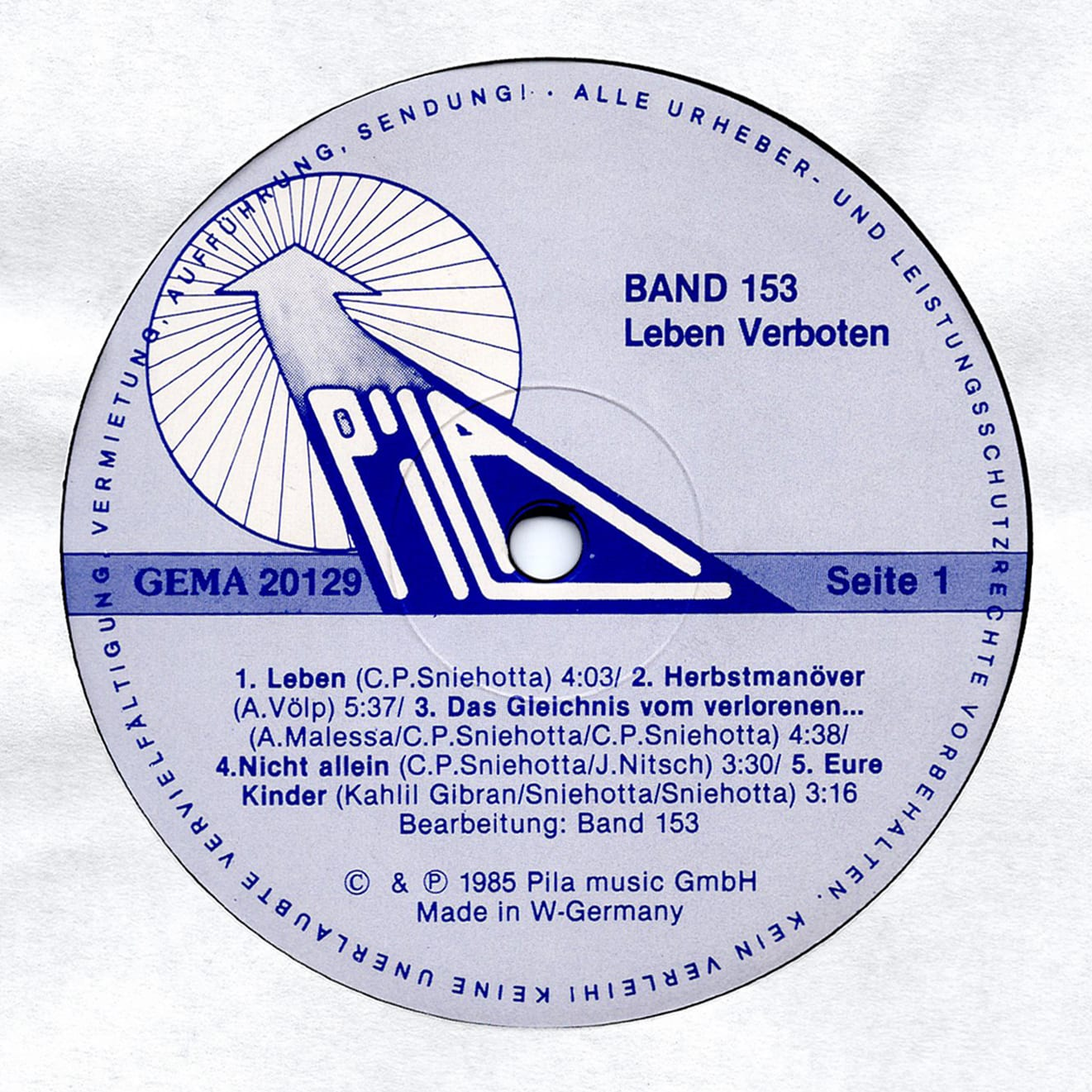 BAND 153 ‎ Leben Verboten – Pila Music ‎– 20.129 Germany 1985