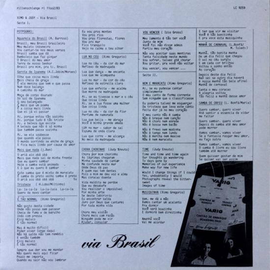 Ximo & Judy  Via Brasil –  Rillenschlange – RL 11002/83 Germany 1983