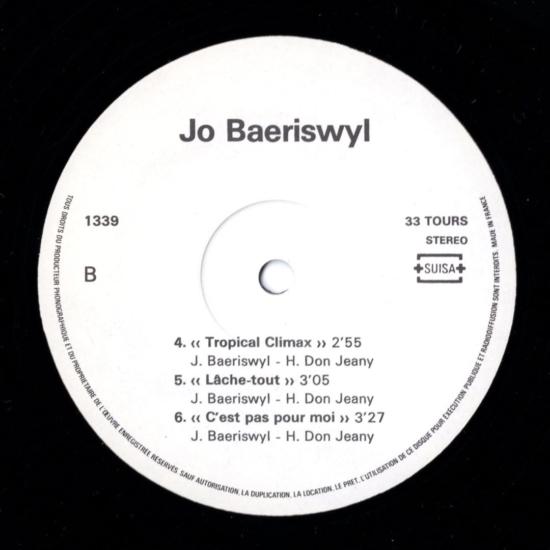 Johann Baeriswyl  Jo Baeriswyl – IVS SUISA N°1339 33 TOURS STEREO France