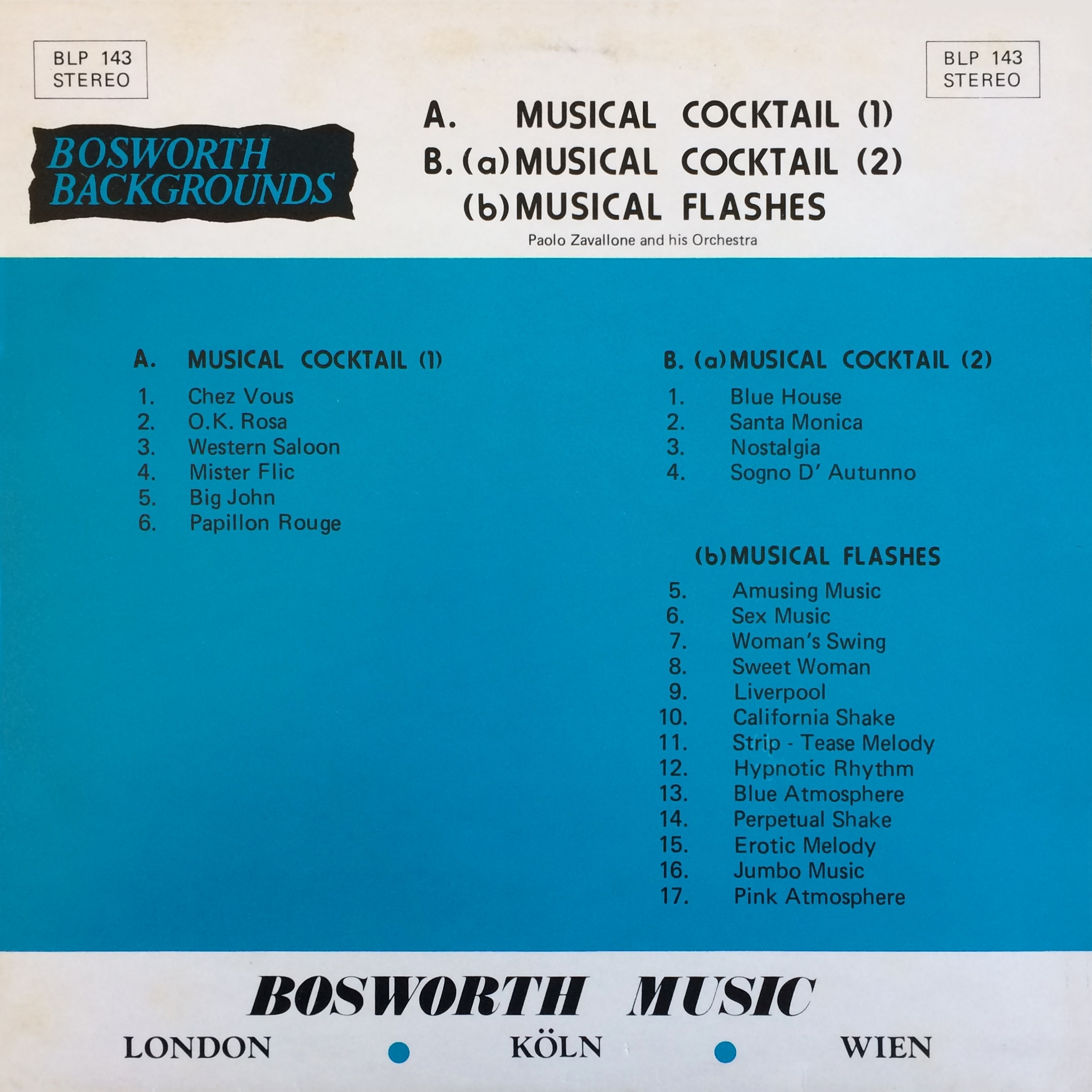 Paolo Zavallone Group ‎ Musical Cocktail 1 & 2 / Musical Flashes – Bosworth Music ‎– BLP 143 UK 1976