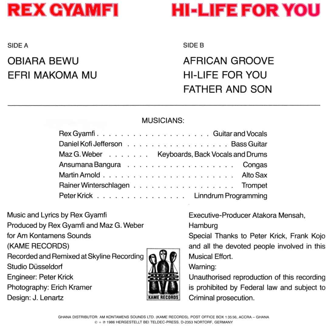Rex Gyamfi Hi-Life For You – Dream Village Records – ST DRV 001 Germany 1985